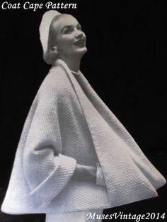Vintage Knitting pattern 1950s Coat Cape Jacket PDF instant download. 1950s Knitting Pattern.