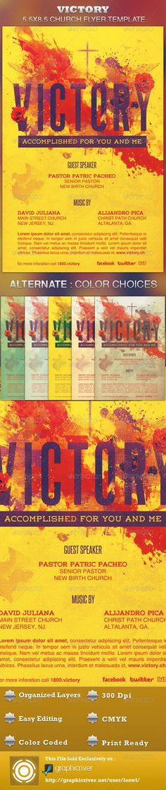 This Victory Church Flyer Template is sold exclusively on graphicriver, it can be used for your Sermons that reflects on the death and resurrection of Jesus, etc. In this package you'll find 1 Photoshop file. All text and graphics in the file are editable, color coded and simple to edit. The file also has 6 one-click color options. $6.00