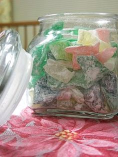 Homemade Rock candy! 1 cup granulated sugar, ½ cup light corn syrup, ½ teaspoon of flavoring, food coloring to pleasing!