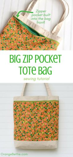 Big Zip Pocket Tote Bag - Sewing Tutorial