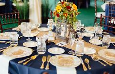 Navy and Ivory table setting. Fall flowers and outdoor wedding.