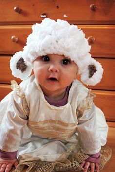 3 to 6m Baby Lamb Photo Prop Baby Hat Farm Animal por BabaMoon, $24.00