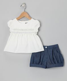 This White Shirred Top & Blue Shorts - Infant, Toddler & Girls by Les Petits Soleils by Fantaisie Kids is perfect! #zulilyfinds