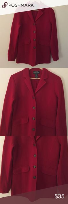 """NWOT Ralph Lauren PS red merino wool blazer jacket Classically tailored, sophisticated and warm NWOT Ralph Lauren PS red 100% merino wool blazer style jacket. Features notched V-neck collar button up front to front waist pockets 4 buttons at bottom of sleeve which can be worn straight or cuffed. Jacket is dry clean only. Dimensions taken while garment is laying flat: 15"""" across shoulders, 38"""" bust, 34"""" waist, 38"""" hips, sleeve length 24"""" and length from shoulder to bottom hem 26"""". Lauren…"""