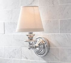 Sussex Shade Sconce, Single, Polished Nickel finish At Pottery Barn - Bath - Sconces Bathroom Sconces, Bathroom Light Fixtures, Wall Sconces, Bathroom Lighting, Bathroom Ideas, Barn Bathroom, Master Bathroom, Wall Lamps, Bath Ideas