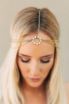 Gold Crystal Head Chain