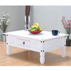 Couchtisch Tisch Beistelltisch Wohnzimmertisch Mexico Massiv Kiefer Mexiko Weiss