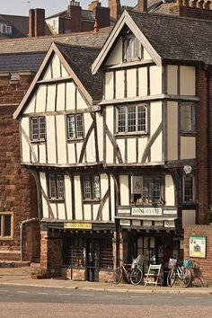 Historic 15th centuryTudor half-timbered buildings in Exeter, Devon, England