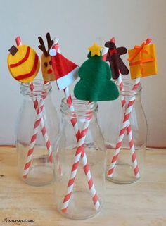 Swanocean: Felt Christmas straw toppers-Τσόχινα Χριστουγεννιάτικα διακοσμητικά για καλαμάκια