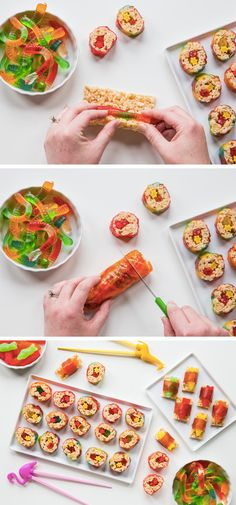 Get creative in the kitchen with your kids this summer! Sweet, savory, and filled with candy, this Marshmallow Treat Sushi recipe is not only fun to make, but also fun to eat. Grab your kid's favorite candies and whip up this tasty treat for a super fun afternoon snack.