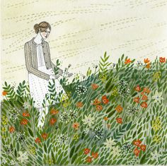 In the Flowers: Pen and watercolor illustration by Yelena Bryksenkova