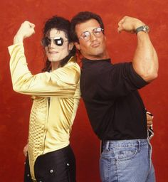 """Michael Jackson with Sylvester Stallone. I just pee in my pants because I was recently in New York City and the fam and I stopped at a cute burger joint named """"cozys"""" of Madison Avenue and saw a pic of the owner with Sylvester Stallone and said """"to everyone at cozys, signed with love, Sylvester Stallone"""".And I met the owner so I met someone who met someone who met mjj. OMG"""