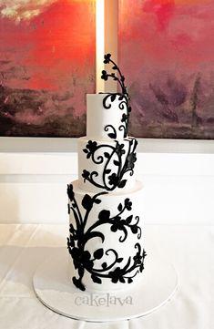 kl Modern design with handmade floral vines Black And White Wedding Cake, White Wedding Cakes, Elegant Wedding Cakes, Wedding Cake Designs, Wedding Cupcakes, Fondant Cakes, Cupcake Cakes, Double Barrel Cake, Wedding Cake Alternatives