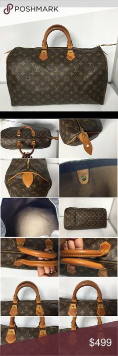 100% Authentic Louis Vuitton Vintage Speedy 40 100% Authentic Louis Vuitton Monogram Vintage Speedy 40 Satchel.. Pre-Owned bag in very good condition. no rip, no stain on the canvas. Inside have tiny stain. No bad odor/ no smell. Handle and Leather has marks and stain and sign of used.  MADE IN Malletier DATE CODE FH0910 ( January 1990 )   Please check all the pictures. -In order to avoid unnecessary return- no return sold as is- Louis Vuitton Bags Satchels
