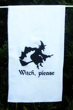 A personal favorite from my Etsy shop https://www.etsy.com/listing/206796843/halloween-kitchen-towels-witch-please