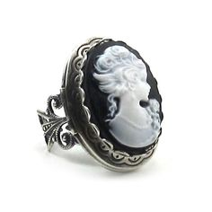 Cameo RIng - Elegant Gothic Lolita Layered Cameo LOCKET Ring with Filigree Band in White on Black - By Ghostlove