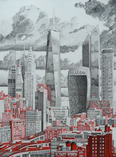 Famous skyscrapers #art by Mark Lascelles including Taipei 101 and the Chrysler building in #NYC Thornton for The Happiness Machine