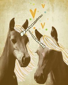 Unicorn Yellow Hearts Digital Collage Illustration Vintage Etsy Happy Volume 25 Brown Ochre Magic
