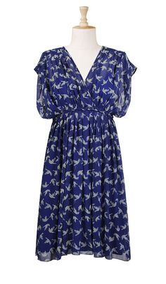 Bird print dress, eShakti. Love the braided detail around the waist!