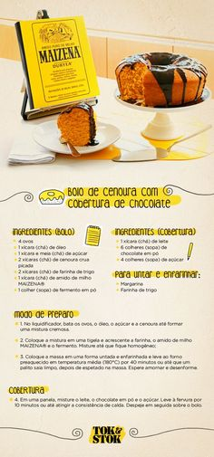 Carrot cake with chocolate topping! I Love Food, Good Food, Yummy Food, Portuguese Recipes, Food Illustrations, Dessert Recipes, Desserts, Homemade Cakes, Yummy Cakes
