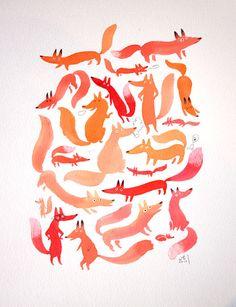 Foxy day -3- - Original painting via Etsy