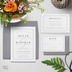 Modern Typographic Gray Wedding Invitation SuiteDIGITAL FILE