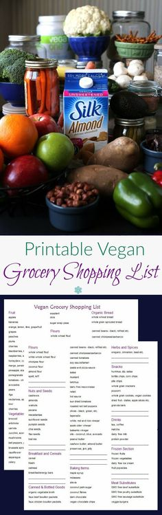 Printable Vegan Grocery Shopping List - a two sided grocery list that will help you never forget an item again.  You can either circle items before you go or take the list along as a product reminder. @lovemysilk  #ad #LoveMySilk