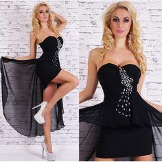 22407S Ασύμμετρο Φόρεμα Μαύρο