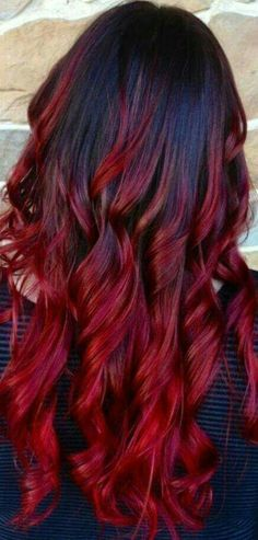 Black hair ombre, brown to red ombre, red ombre hair color, black Black Hair Ombre, Ombre Hair Color, Ombre Burgundy, Red Hair With Black Roots, Brown To Red Ombre, Black Hair Red Tips, Deep Red Hair Color, New Hair Colors, Purple