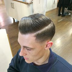 Pomade Hairstyle Men, Hair Pomade, Slick Hairstyles, Classic Hairstyles, Comb Over Fade, Slicked Back Hair, Hair Cuts, Men's Hair, Hair Styles