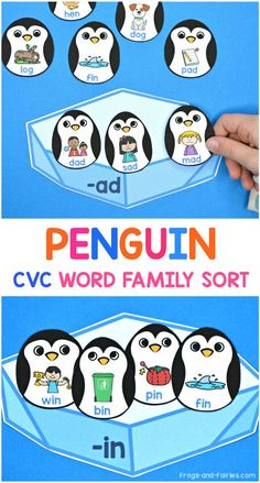 Penguin CVC Word Family Sort - Frogs and Fairies - Help these adorable penguins find their ice platform! This Penguin themed CVC Word Family Sort is a - Word Family Activities, Cvc Word Families, Winter Activities For Kids, Preschool Learning Activities, Stem Activities, Cvc Words, Little Learners, Play To Learn, Early Reading