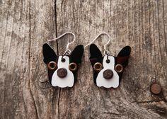 Earrings Jewelry Boston Terrier Dog Breed Pet Lover Aluminum Custom Rivets. $15.00, via Etsy.