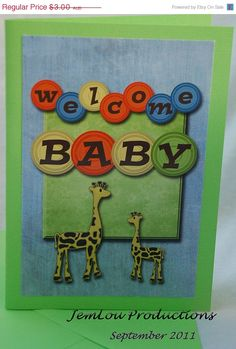 Welcome Baby Card Handmade Digital Card by JemLouProductions, $2.55