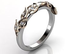 14k two tone white and rose gold diamond unusual unique floral bridal ring, wedding band.
