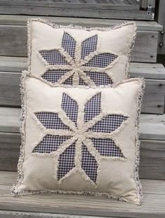 Applique Pillows, Sewing Pillows, Diy Pillows, Decorative Pillows, Throw Pillows, Cushions To Make, Rag Quilt, Quilt Blocks, Quilting Projects