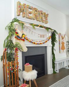 MERRY + Bright Pom Pom Holiday Home Tour - color and whimsical ideas! Merry +Bright Pom Pom Holiday Home Tour! Ways to bring color and whimsy into your holiday decorating this year. Pom poms and felt balls! Merry Little Christmas, Christmas Love, All Things Christmas, Winter Christmas, Christmas Crafts, Xmas, Colorful Christmas Tree, Homemade Christmas, Christmas Island