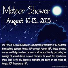 Meteor Shower August 10-13, 2013