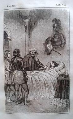 El Señor de Bembibre. Por Enrique Gil y Carrasco - (1844) Lámina VII...  Don Alvaro tardó bastantes horas en volver á su conocimiento por el aturdimiento de su caída y por la mucha sangre que con sus heridas habia perdido. Lo primero que vieron sus ojos al abrirse fué á su fiel Millan que de pie al lado de su cama, estaba observando con particular solicitud sus movimientos. ...