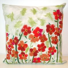 Liore Manne Poppies Red Pillow Set