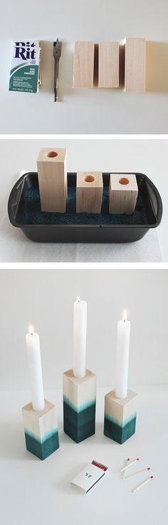 DIY candelabros de madera teñidos./ DIY dyed wood candlesticks. #recycledesign