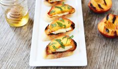 Grilled Peach, Brie, and Mint Crostini - Maria Lichty
