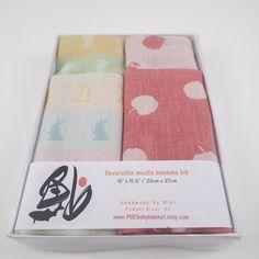 2 bandana bibs in gift box baby bib baby gift by MIKIbabyblanket