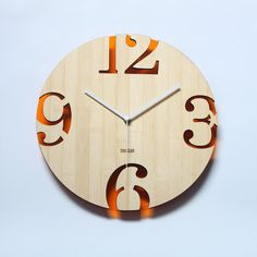 Retro Orange Bamboo Wall Clock -  Numeric Cutter