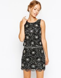 Frock and Frill Heavy Embellished Sparkle Shift Dress - Black/silver