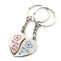 1 Pair Love Heart Couple Stainless Steel Key Ring Chains Lover Gifts