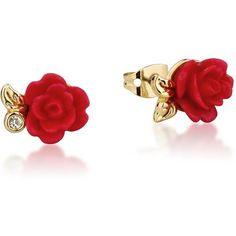 Disney Beauty and the Beast Enchanted Rose Stud Earrings ($27) ❤ liked on Polyvore featuring jewelry, earrings, disney earrings, rose jewellery, sparkle jewelry, red rose earrings and red jewelry