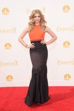 Pin for Later: See Every Dress to Hit the Emmy Awards Red Carpet Natalie Dormer Natalie Dormer paired her colorblock J. Mendel gown with Sophia Webster heels when she hit the red carpet.