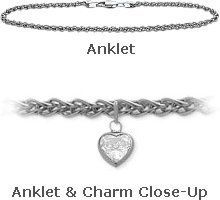 14K White Gold Wheat Style 0.85tcw. White Topaz Heart Charm Anklet >>> Want to know more, click on the image.
