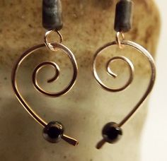 Wire-Wrapped-Agate-Hematite-Heart-Halve-Earrings-on-Rose-Gold-Wire