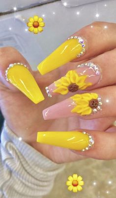 2019 Hot Fashion Coffin Nail Trend Ideas - New Ideas Dope Nails, Bling Nails, Fun Nails, Glitter Nails, Best Acrylic Nails, Acrylic Nail Designs, Nail Art Designs, Best Nail Art, Acrylic Summer Nails Coffin